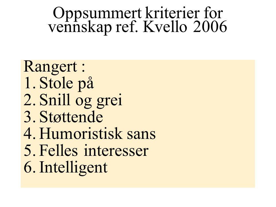 Oppsummert kriterier for vennskap ref. Kvello 2006
