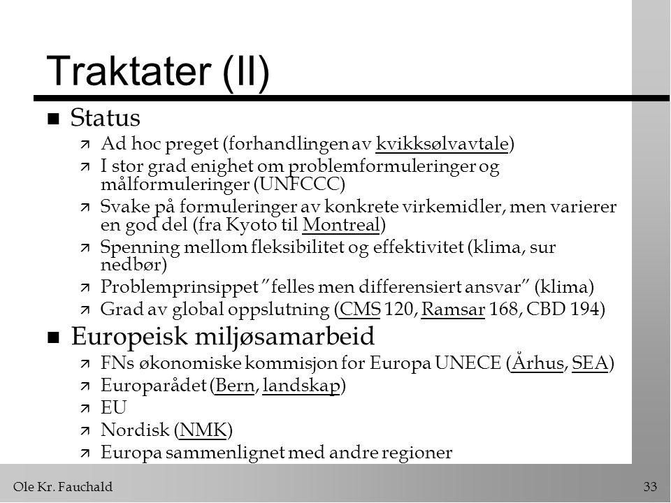 Traktater (II) Status Europeisk miljøsamarbeid