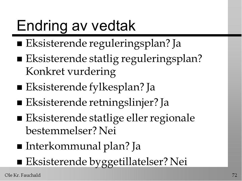 Endring av vedtak Eksisterende reguleringsplan Ja