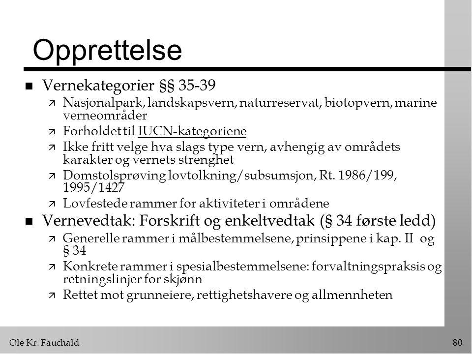 Opprettelse Vernekategorier §§ 35-39