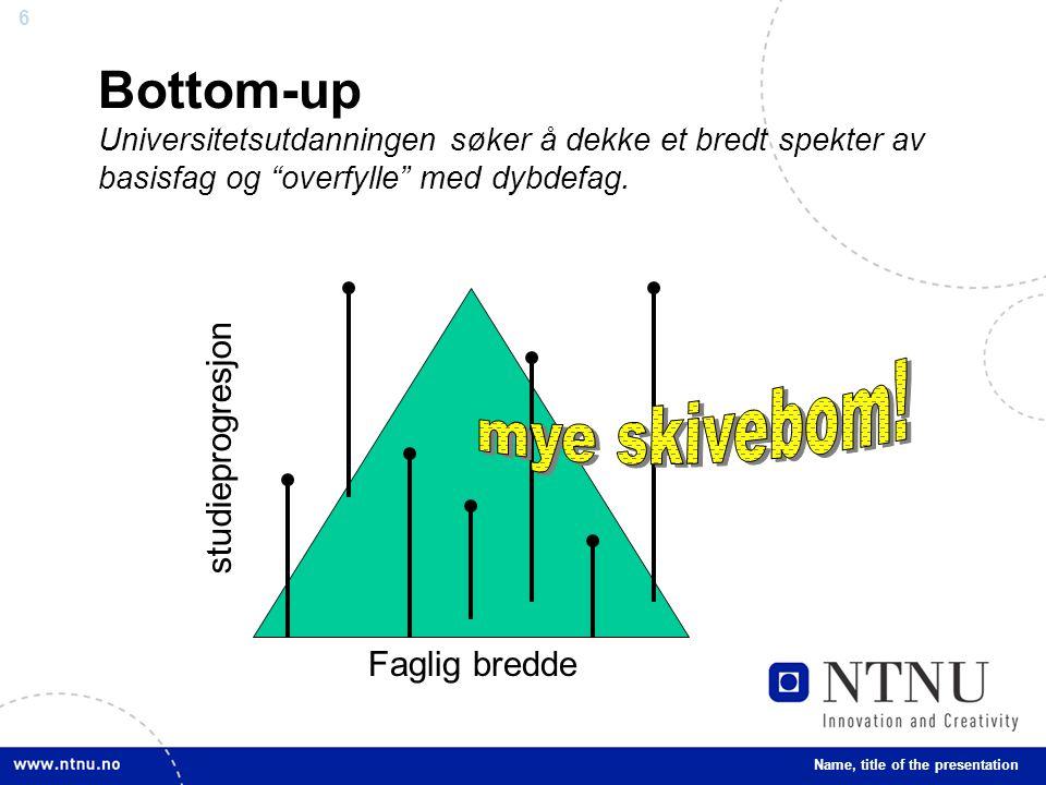 Bottom-up Universitetsutdanningen søker å dekke et bredt spekter av basisfag og overfylle med dybdefag.