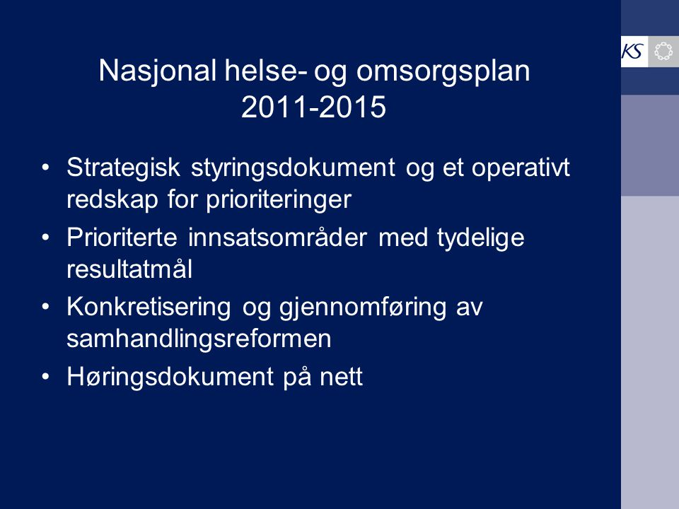 Nasjonal helse- og omsorgsplan 2011-2015