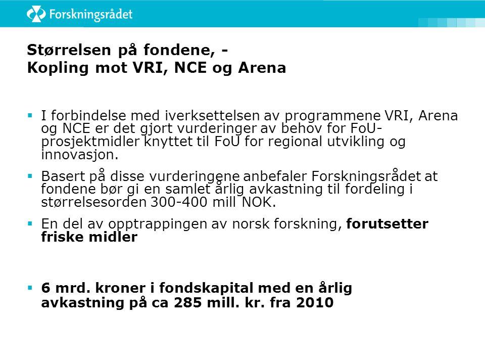 Størrelsen på fondene, - Kopling mot VRI, NCE og Arena