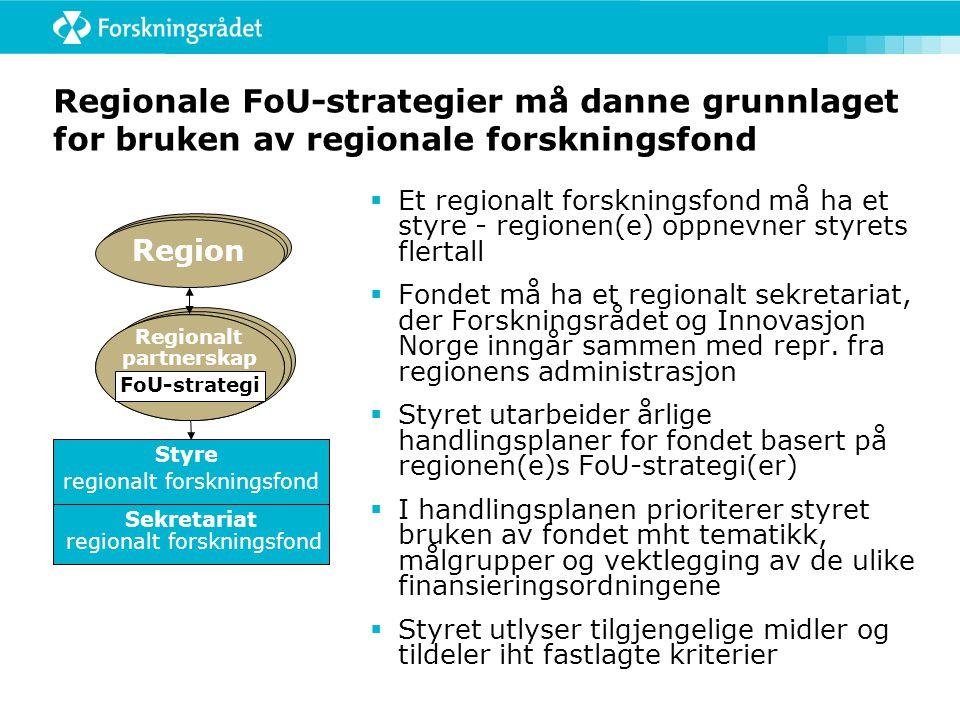Regionale FoU-strategier må danne grunnlaget for bruken av regionale forskningsfond