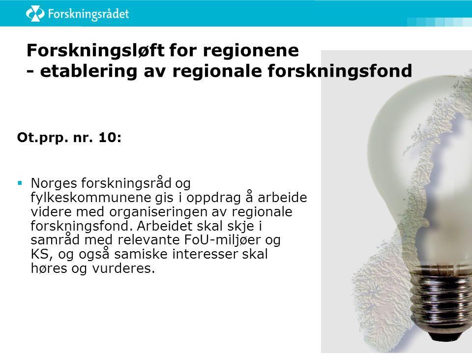 Forskningsløft for regionene - etablering av regionale forskningsfond