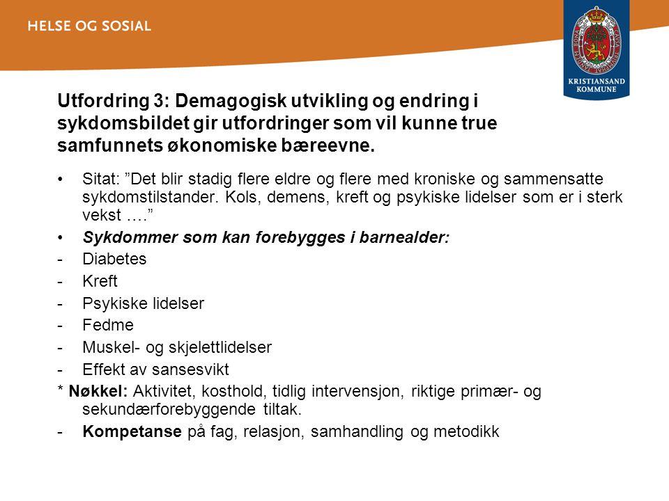 Utfordring 3: Demagogisk utvikling og endring i sykdomsbildet gir utfordringer som vil kunne true samfunnets økonomiske bæreevne.