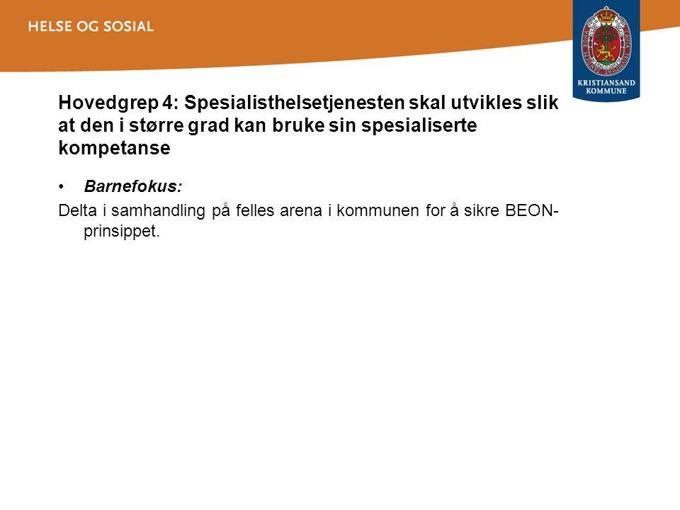 Hovedgrep 4: Spesialisthelsetjenesten skal utvikles slik at den i større grad kan bruke sin spesialiserte kompetanse