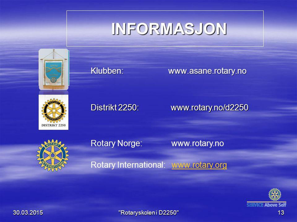 INFORMASJON Klubben: www.asane.rotary.no
