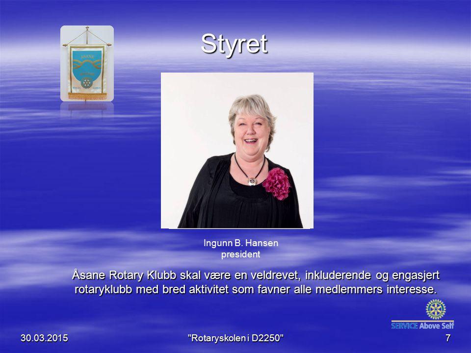 Styret Klubb- vimpel. Bilde av årets president. Ingunn B. Hansen president.