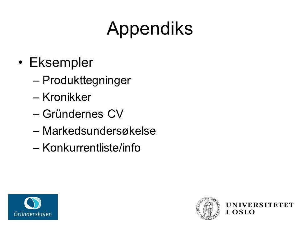 Appendiks Eksempler Produkttegninger Kronikker Gründernes CV