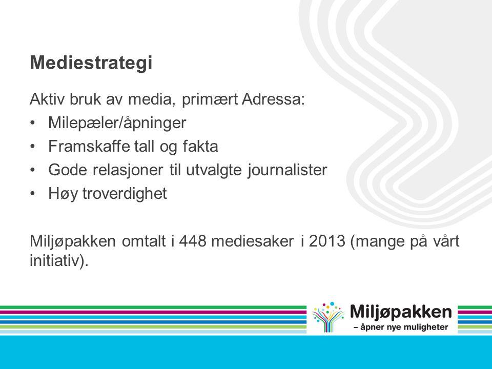 Mediestrategi Aktiv bruk av media, primært Adressa: Milepæler/åpninger