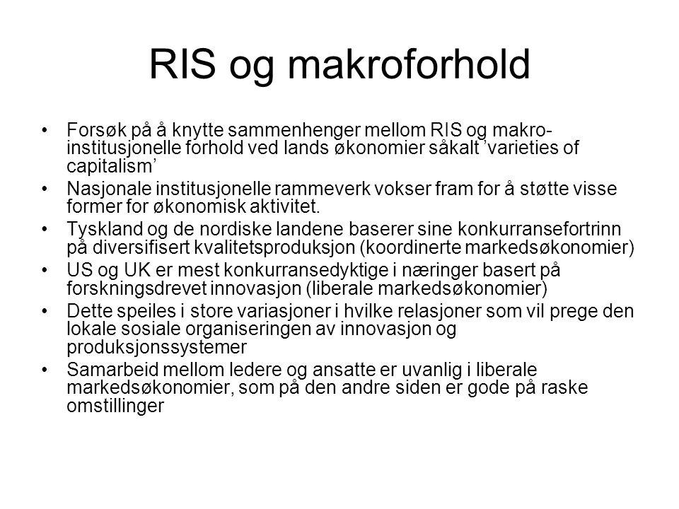 RIS og makroforhold Forsøk på å knytte sammenhenger mellom RIS og makro-institusjonelle forhold ved lands økonomier såkalt 'varieties of capitalism'