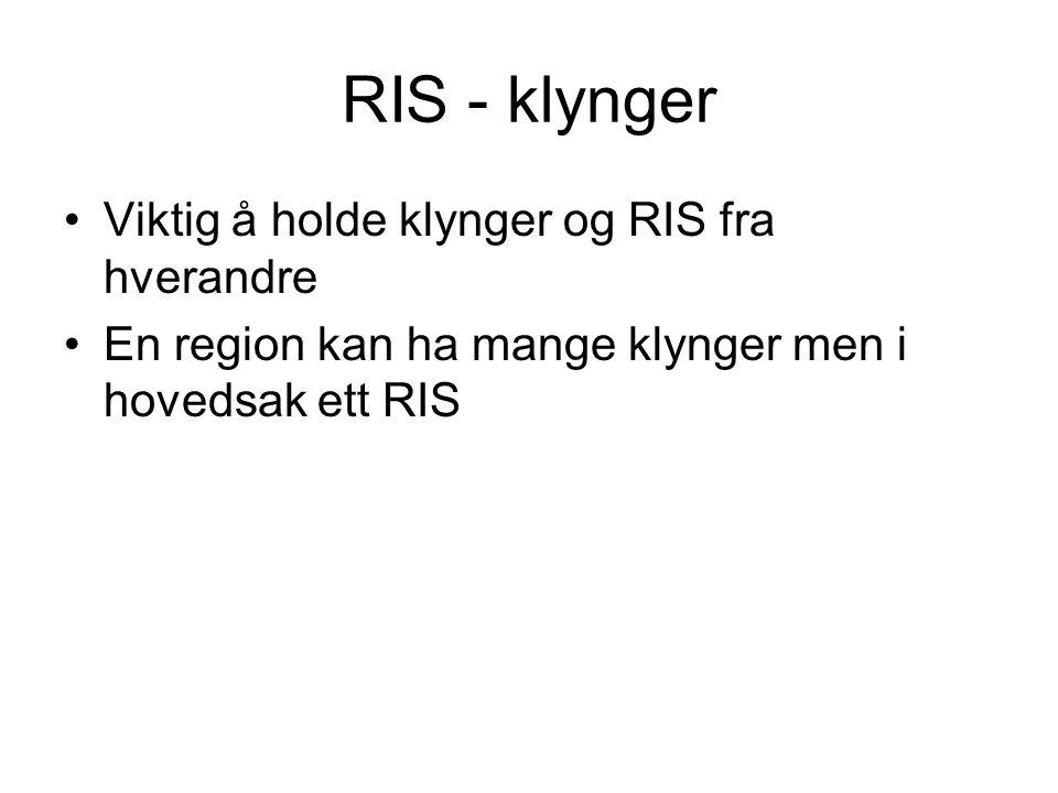 RIS - klynger Viktig å holde klynger og RIS fra hverandre
