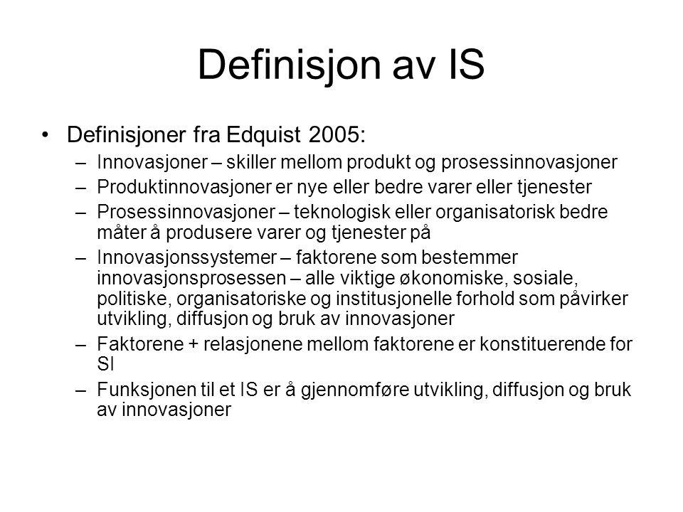 Definisjon av IS Definisjoner fra Edquist 2005: