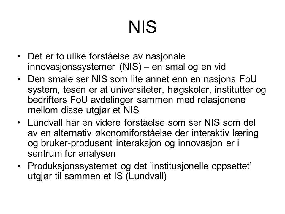NIS Det er to ulike forståelse av nasjonale innovasjonssystemer (NIS) – en smal og en vid.
