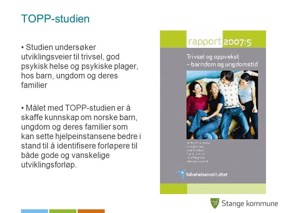 TOPP-studien Studien undersøker utviklingsveier til trivsel, god psykisk helse og psykiske plager, hos barn, ungdom og deres familier.