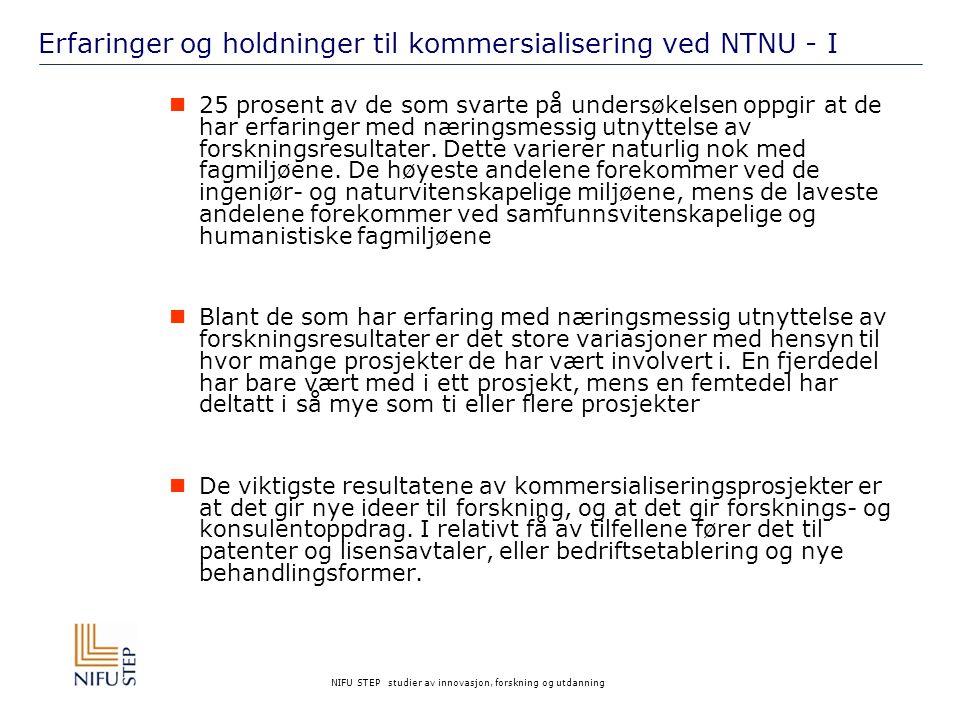 Erfaringer og holdninger til kommersialisering ved NTNU - I