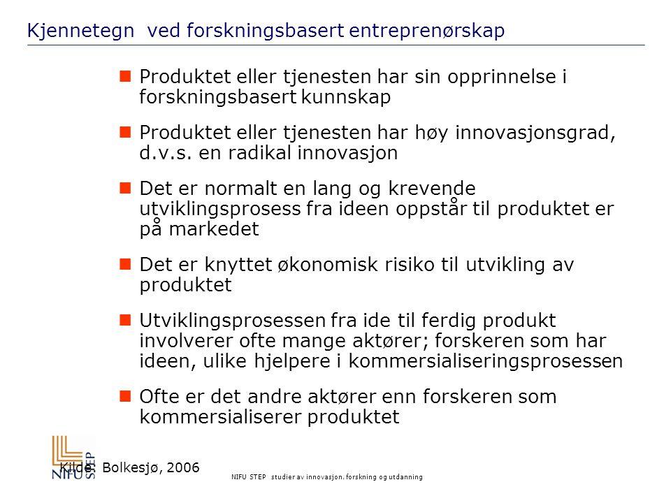 Kjennetegn ved forskningsbasert entreprenørskap