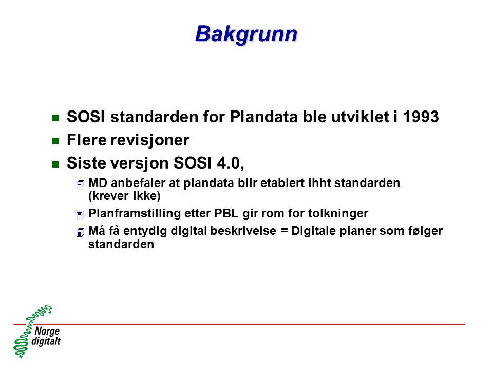 Bakgrunn SOSI standarden for Plandata ble utviklet i 1993