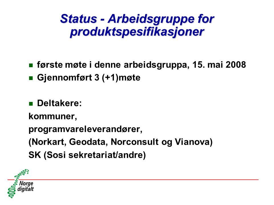 Status - Arbeidsgruppe for produktspesifikasjoner