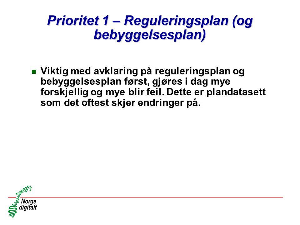 Prioritet 1 – Reguleringsplan (og bebyggelsesplan)