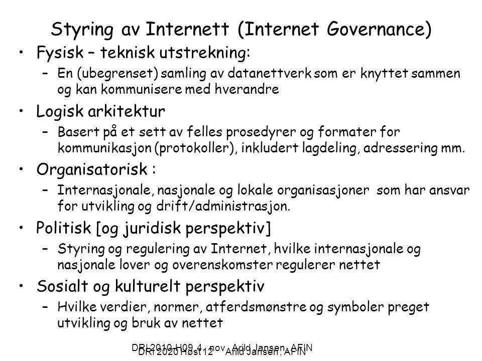Styring av Internett (Internet Governance)