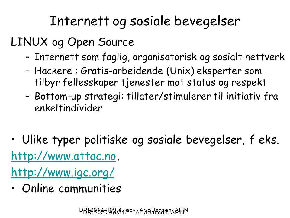 Internett og sosiale bevegelser
