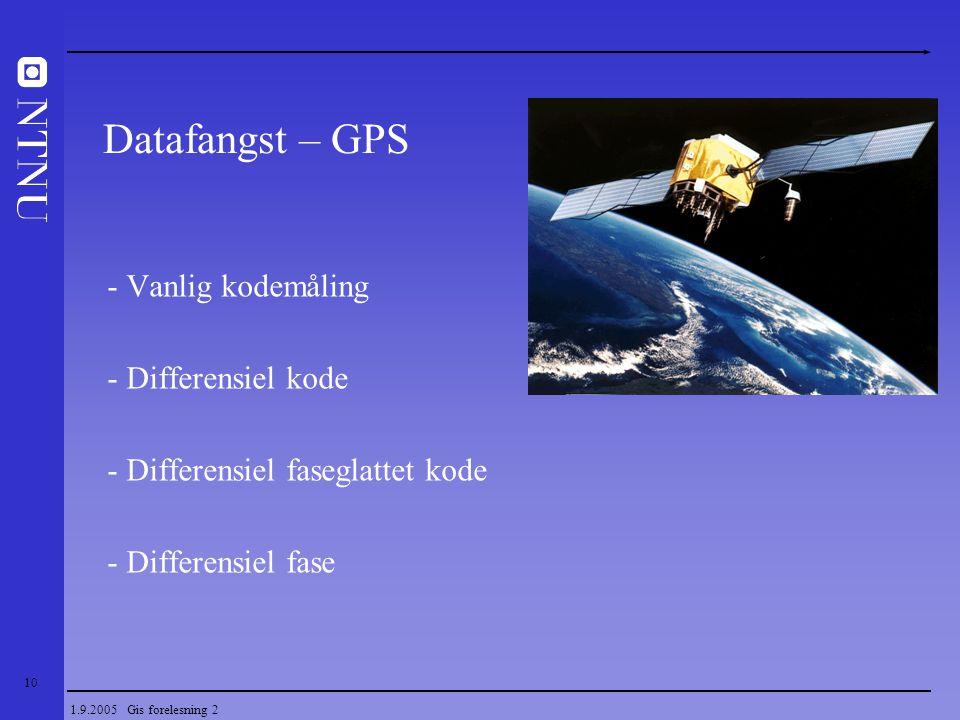 Datafangst – GPS - Vanlig kodemåling - Differensiel kode