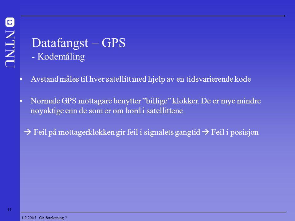 Datafangst – GPS - Kodemåling