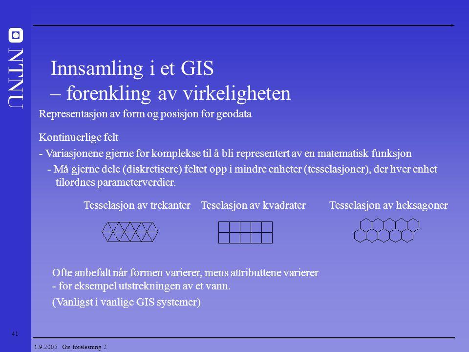 Innsamling i et GIS – forenkling av virkeligheten