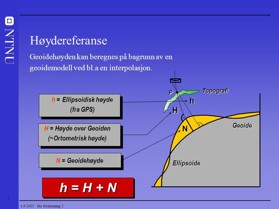 h = H + N Høydereferanse Geoidehøyden kan beregnes på bagrunn av en