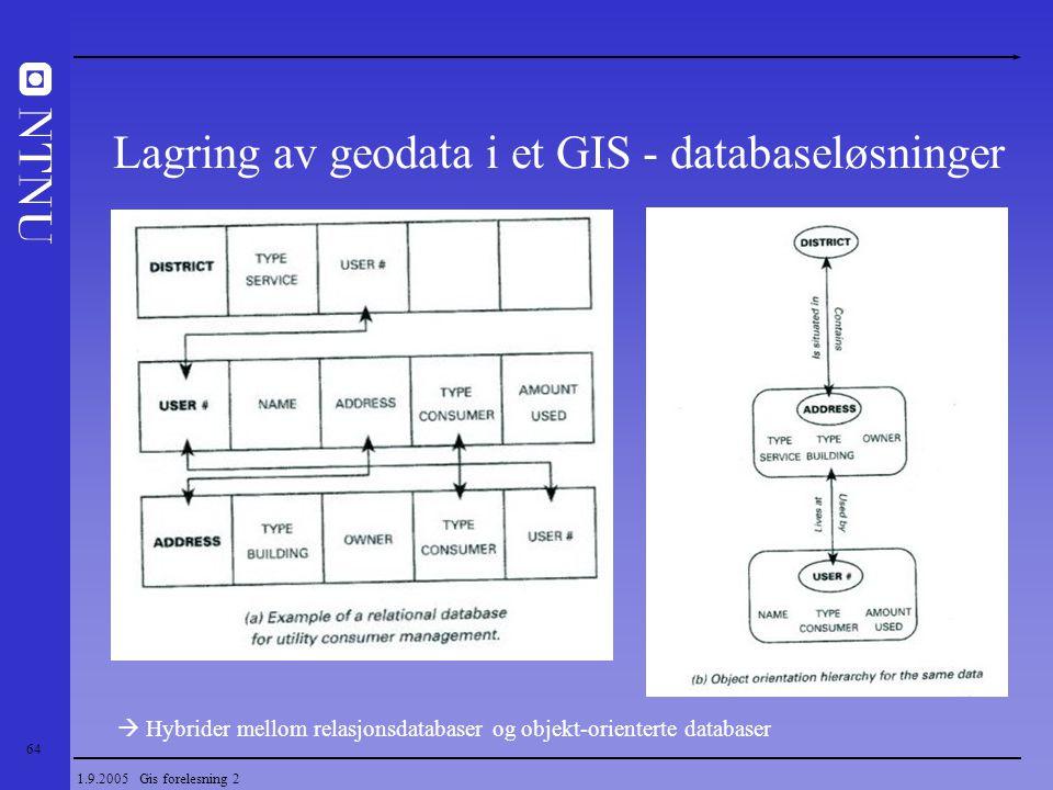 Lagring av geodata i et GIS - databaseløsninger