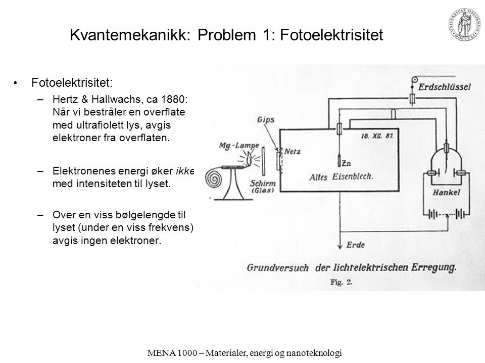 Kvantemekanikk: Problem 1: Fotoelektrisitet