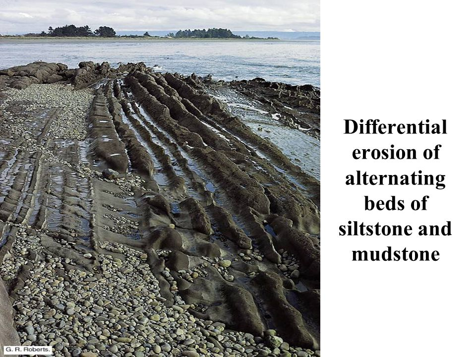 Differential erosion of alternating beds of siltstone and mudstone