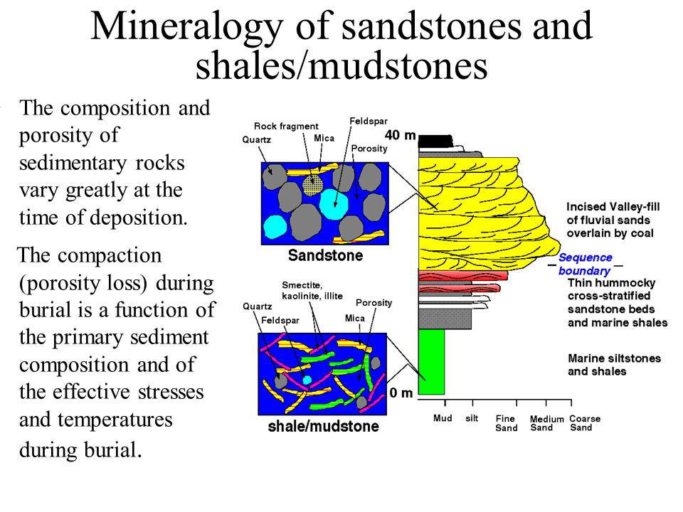 Mineralogy of sandstones and shales/mudstones