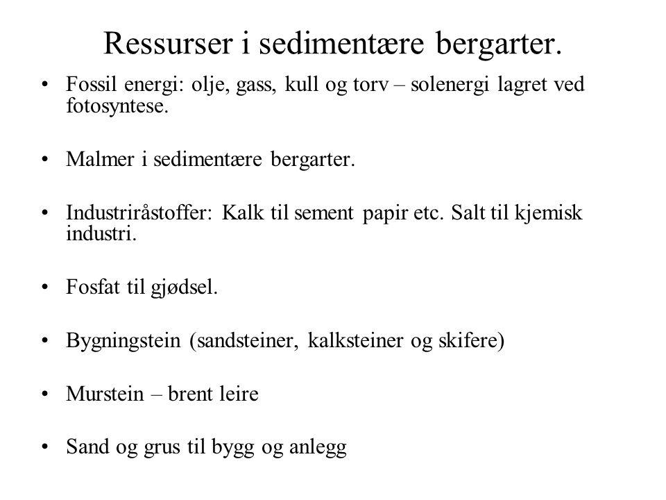 Ressurser i sedimentære bergarter.