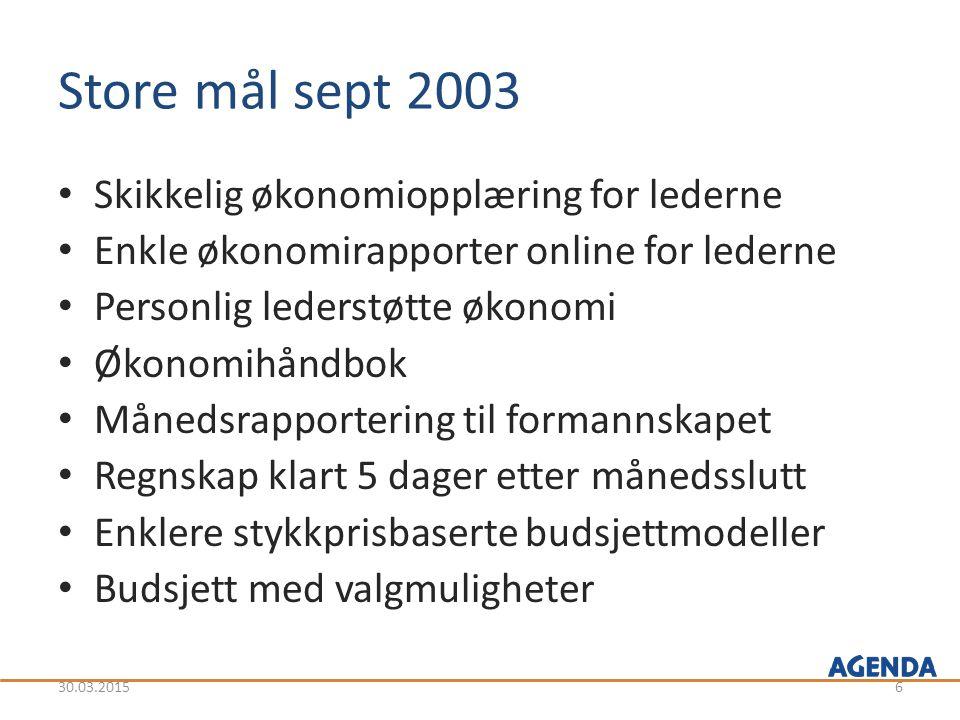Store mål sept 2003 Skikkelig økonomiopplæring for lederne