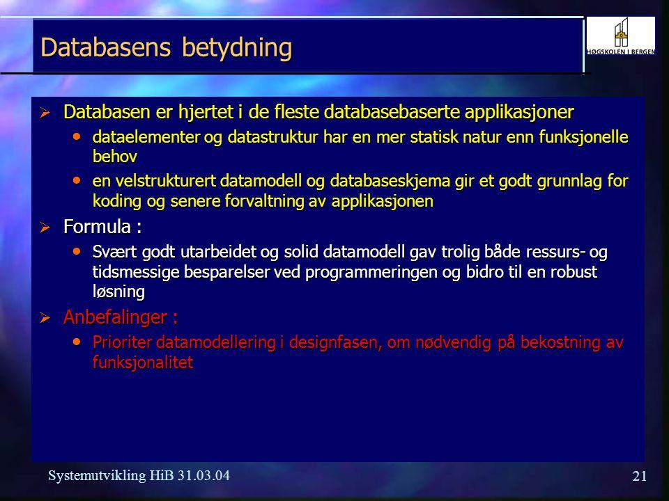 Databasens betydning Databasen er hjertet i de fleste databasebaserte applikasjoner.