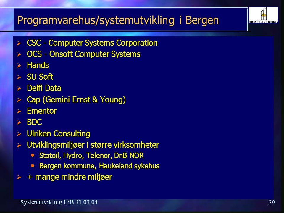 Programvarehus/systemutvikling i Bergen