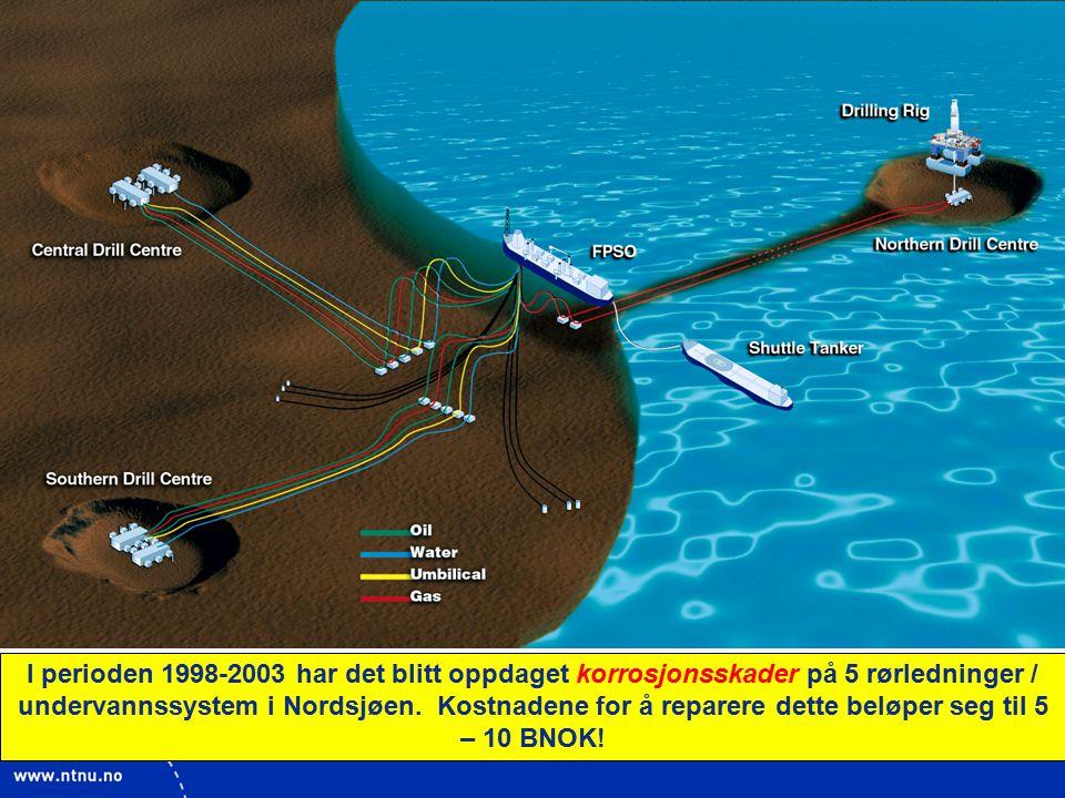 I perioden 1998-2003 har det blitt oppdaget korrosjonsskader på 5 rørledninger / undervannssystem i Nordsjøen.