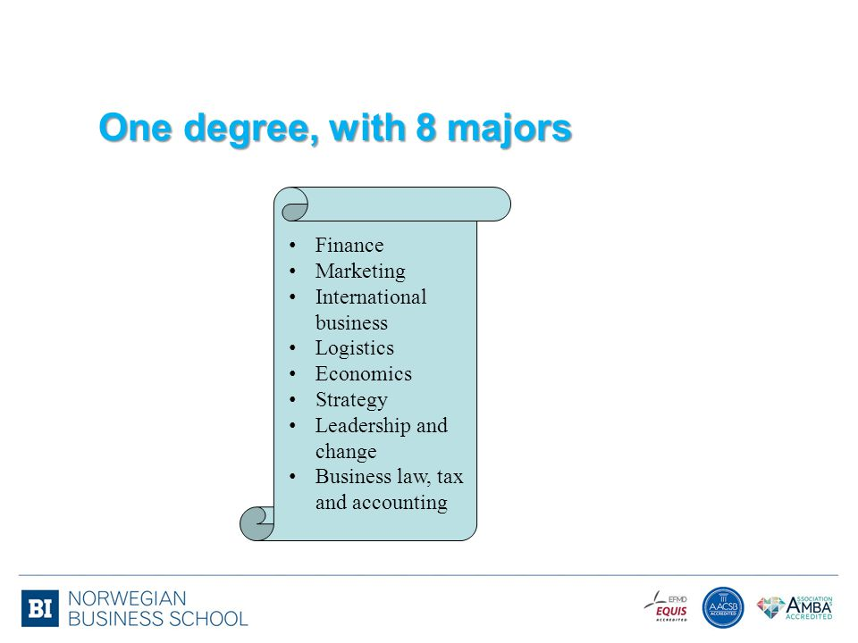 One degree, with 8 majors Finance Marketing International business