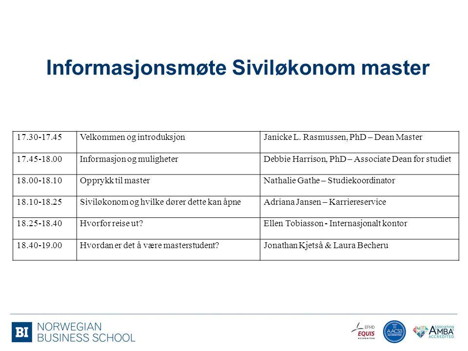 Informasjonsmøte Siviløkonom master
