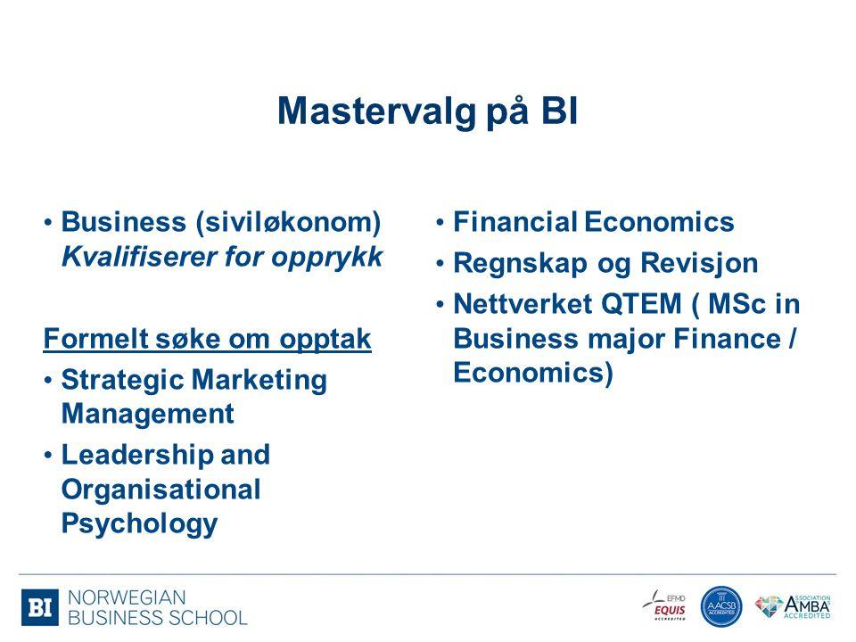 Mastervalg på BI Business (siviløkonom) Kvalifiserer for opprykk