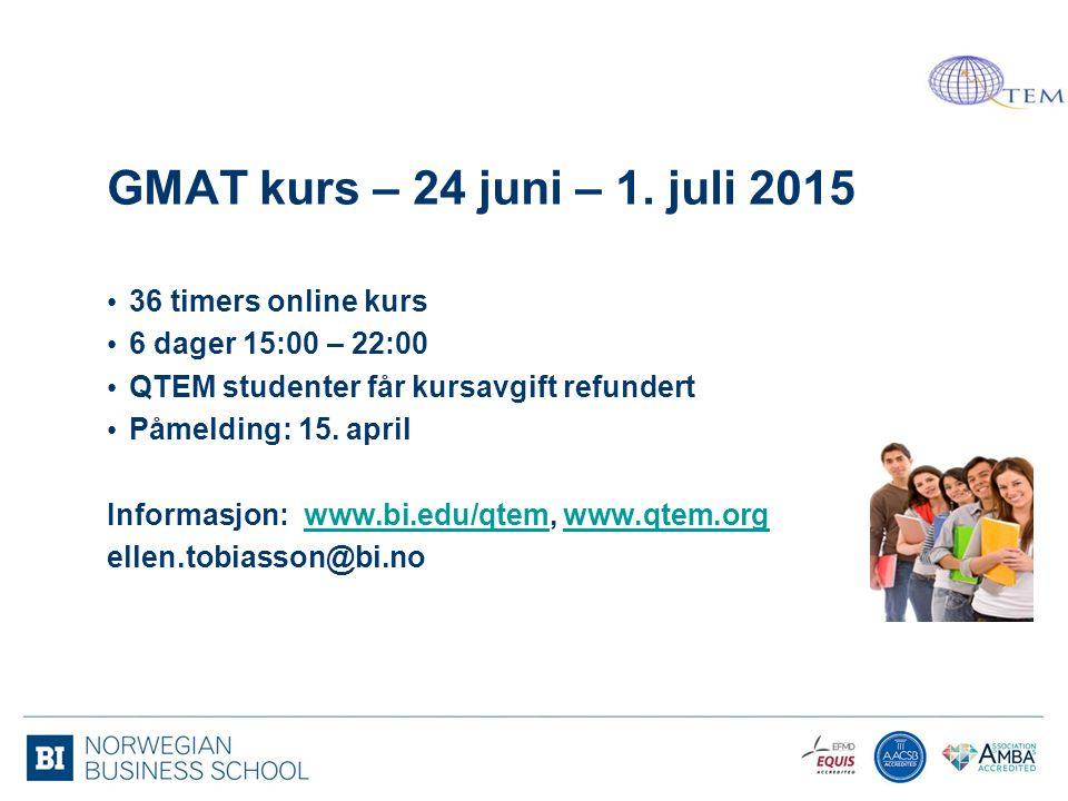 GMAT kurs – 24 juni – 1. juli 2015 36 timers online kurs