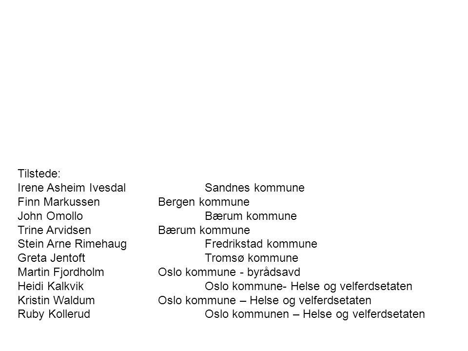 Tilstede: Irene Asheim Ivesdal Sandnes kommune. Finn Markussen Bergen kommune. John Omollo Bærum kommune.