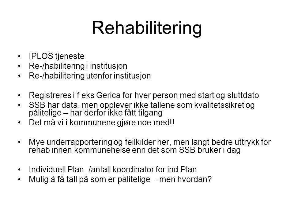 Rehabilitering IPLOS tjeneste Re-/habilitering i institusjon
