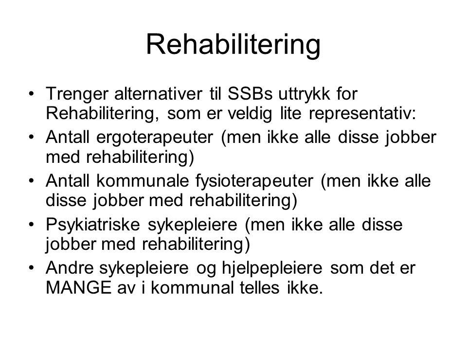 Rehabilitering Trenger alternativer til SSBs uttrykk for Rehabilitering, som er veldig lite representativ: