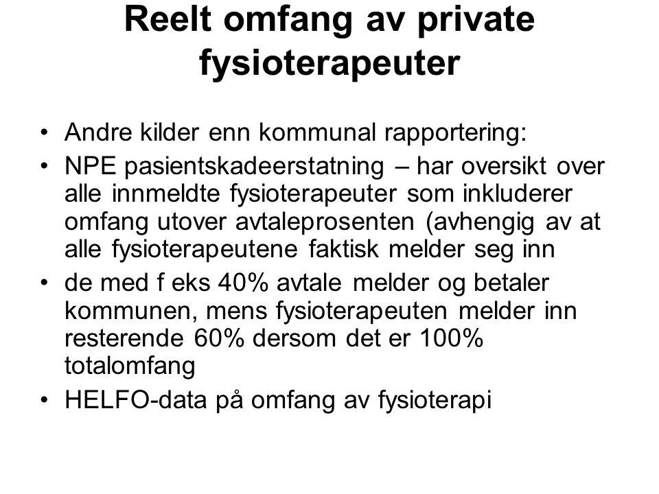 Reelt omfang av private fysioterapeuter