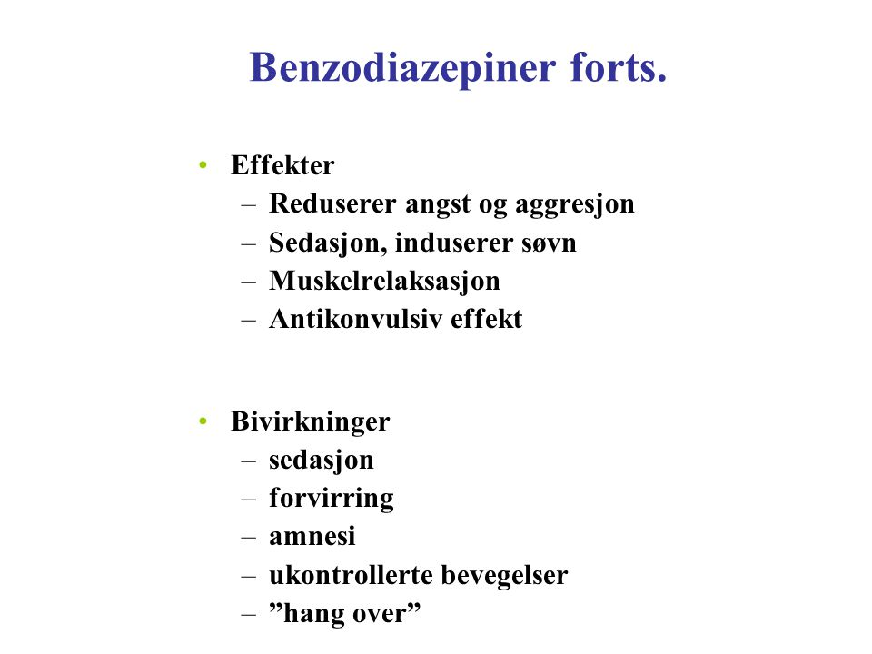 Benzodiazepiner forts.