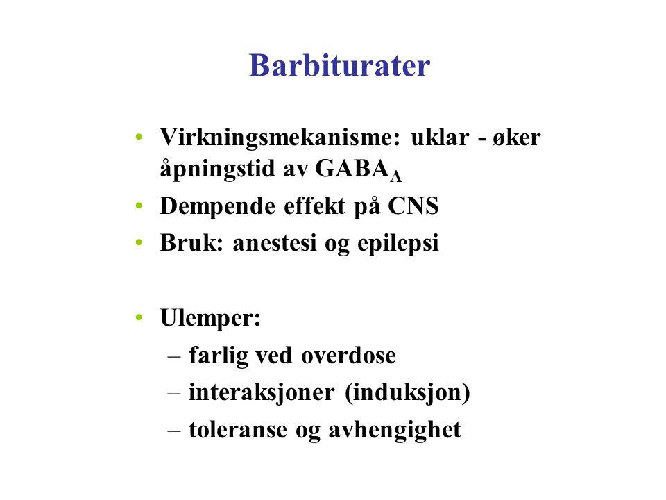 Barbiturater Virkningsmekanisme: uklar - øker åpningstid av GABAA